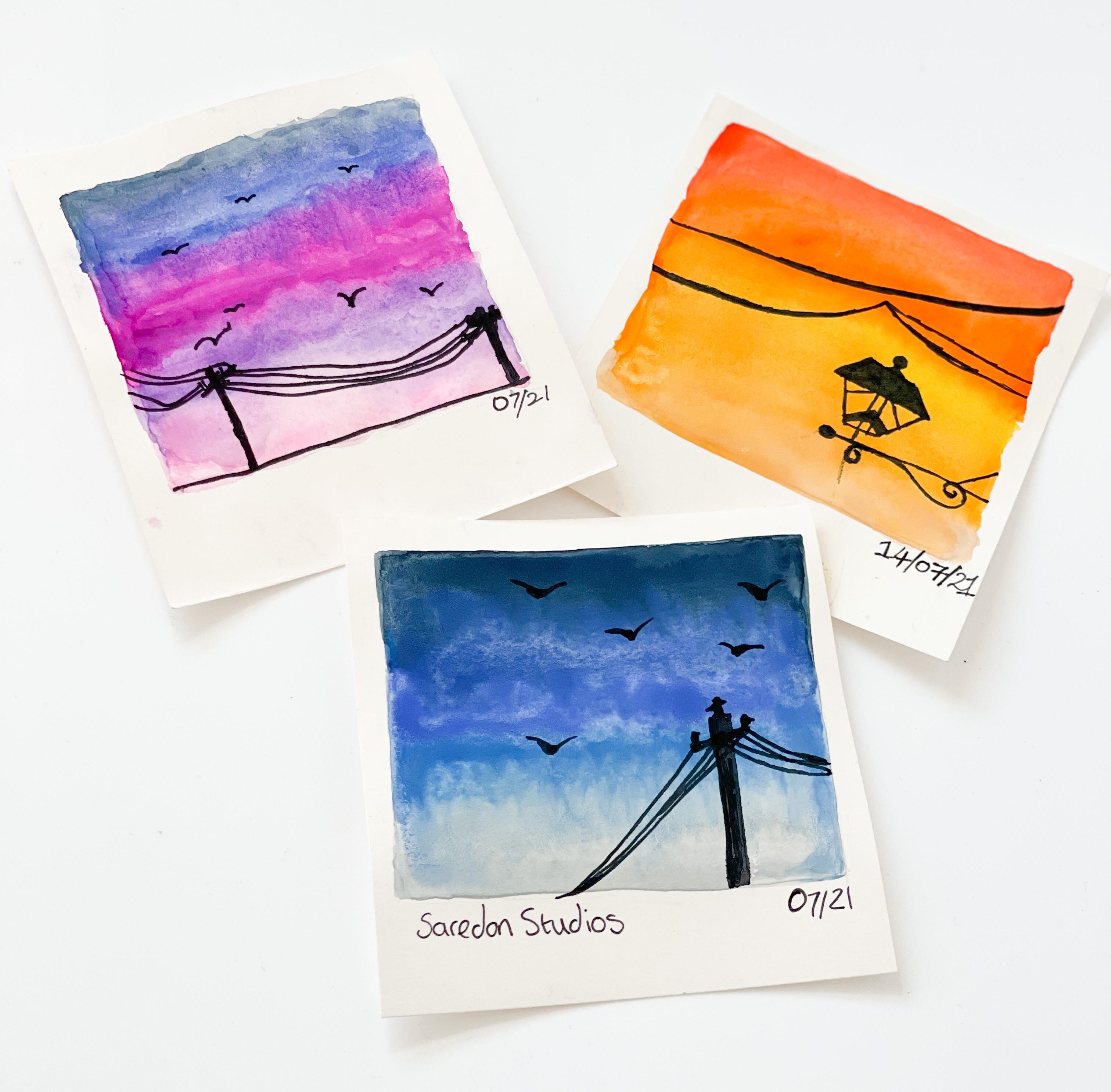 Adult watercolour sunset  polaroids