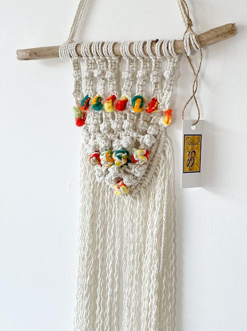 Small multi coloured macramé hanger