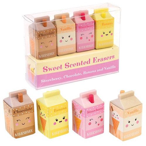 Milkshake scented eraser set