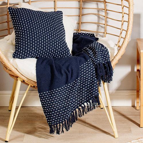 Blue stitch blanket throw