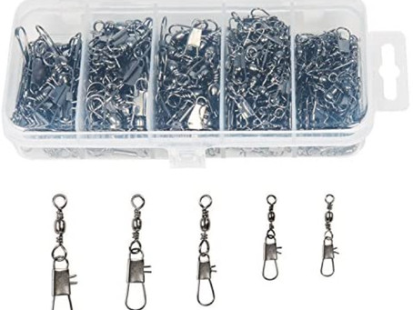 ReeMoo 200PCS Fishing Barrel Swivel with Safety Snap Connector