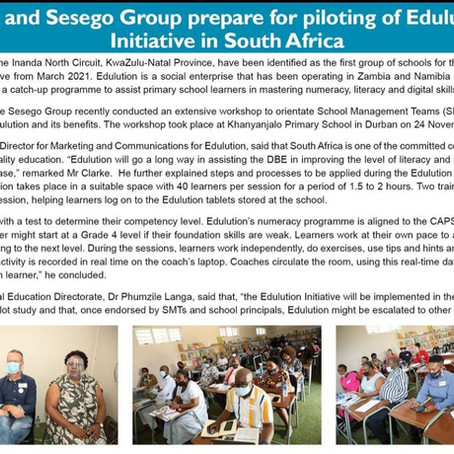 Department of Basic Education and Sesego Group prepare for piloting of Edulution in South Africa