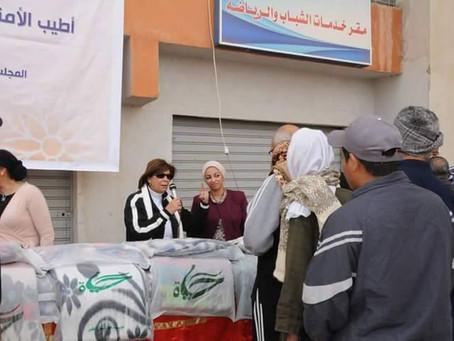 مؤسسة حياة للتنمية المستدامة تنظم قافلة بطاطين بحي الأسمرات بالتعاون مع المجلس القومي للمرأة ومحافظة