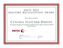 Xerox Recogintion Award for Job well done