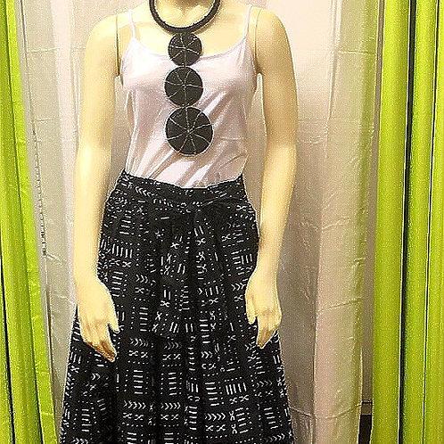 Mud Print Long Skirt