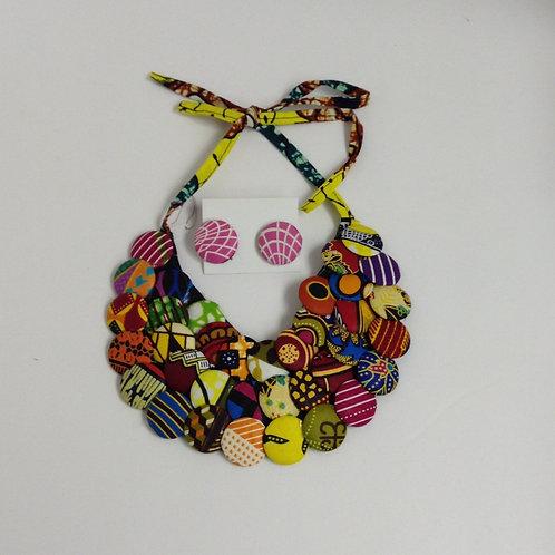 Kitenge 3-Row Disc Necklace Set