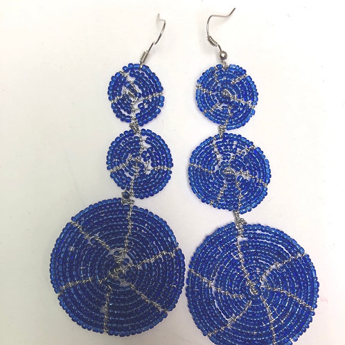 3-Disc Blue Earrings
