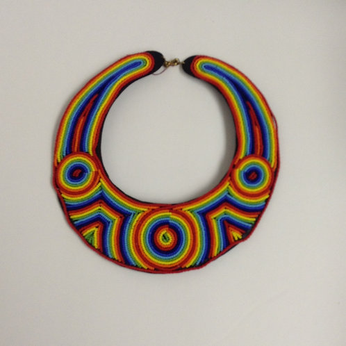 Rainbow Collar Leather Necklace