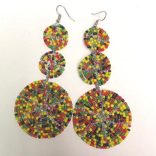 Multi-Color Beaded Maasai Earrings