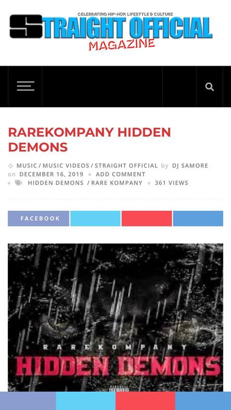 "Rare Kompany Release New Single ""Hidden Demons"""
