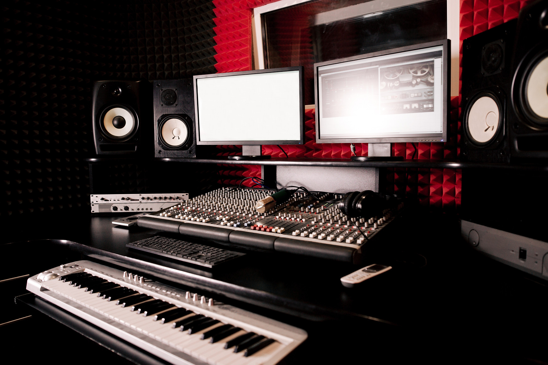 Recording Studio with a synthesizer and