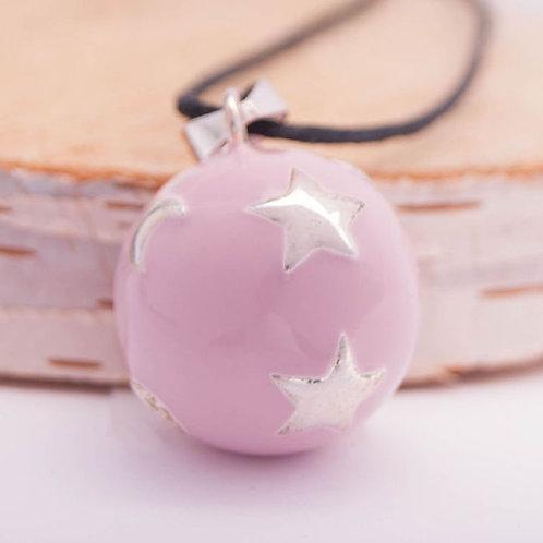 Нежно-розовый с луной и звездами