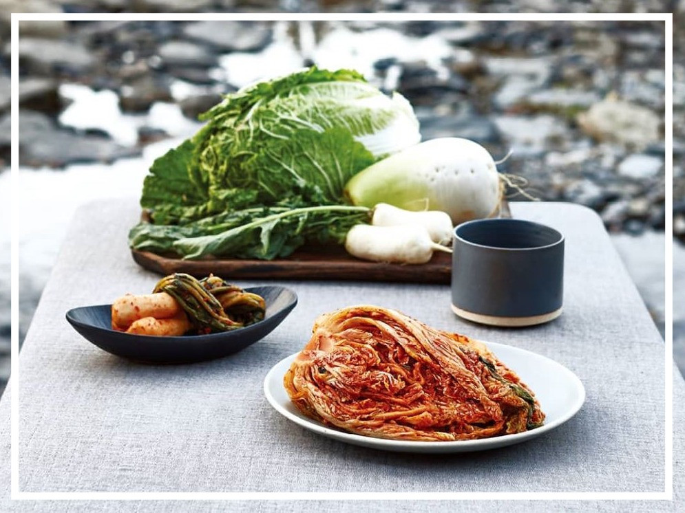 two types of kimchi plus the raw vegetables