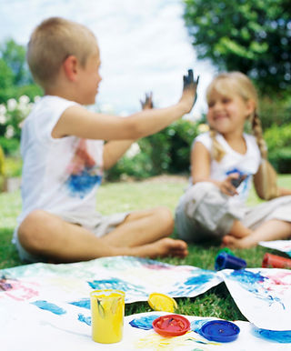Children finge painting