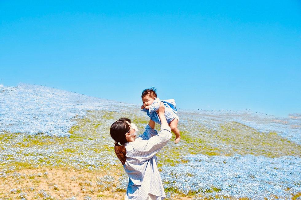 青空と親子
