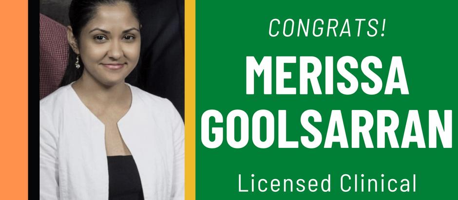 Merissa Goolsarran Becomes Licensed Clinical Social Worker- September 2020