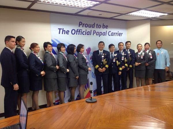 Capt. Tamayo with crew of the Papal flight