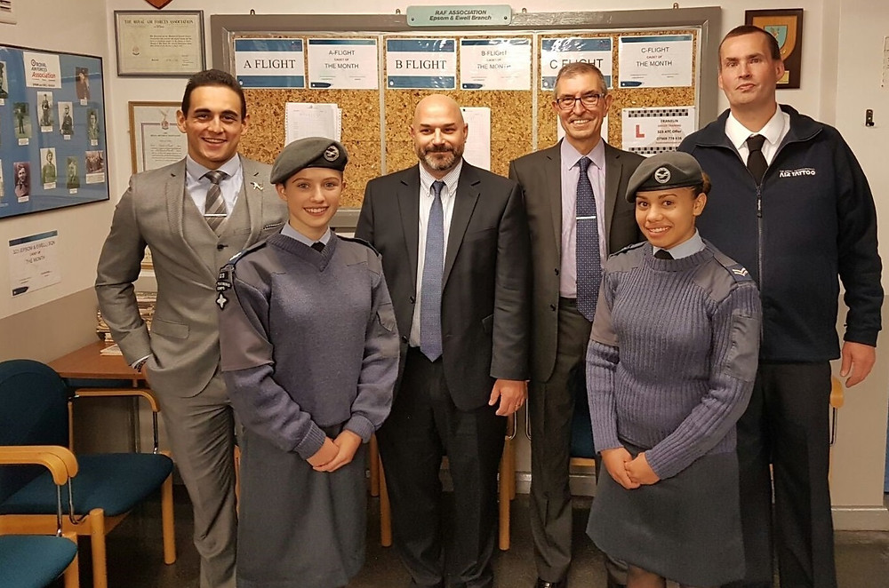 Cadets at Epsom and Ewell 323 Squadron with Brookfield management and David Harbour (right) volunteer