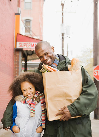 Father and Daughter with Grocery