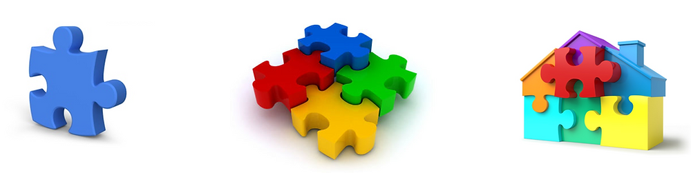 One puzzle piece followed by four puzzle pieces followed by a house made of puzzle pieces
