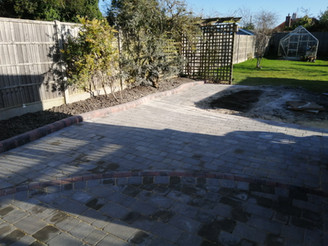 Ash Tumbled Block Paving with Brindle Kerb Raised Edging