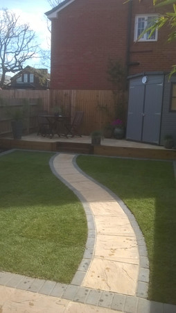 Terraced Patio with Path and Newly Laid Turf