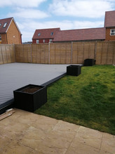 Stone Grey Composite Deck and Composite Planters