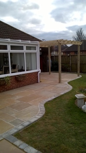 Timber Pergola and Natural Stone Patio