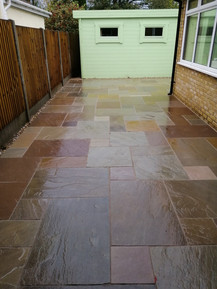 Side Patio using Raj and Camel Mix with New Close- Board Fencing