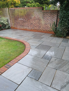 Kandla Grey Paving with Brick Edging