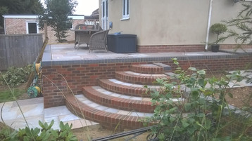 Terraced Patio and Brick Retaining Wall