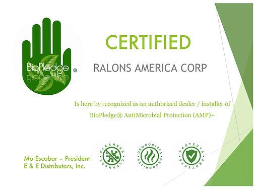 Ralons America BioPledge Certification.j