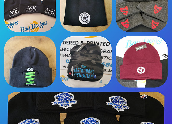 5 x Embroidered beanie hats