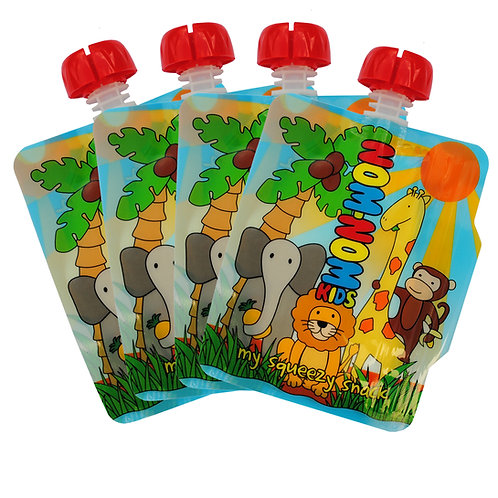 4x Reusable Food Pouch - Animal Pouches (140ml) by Nom Nom Kids