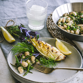 Charred Cabbage with Butter Beans & Lavender Salsa Verde