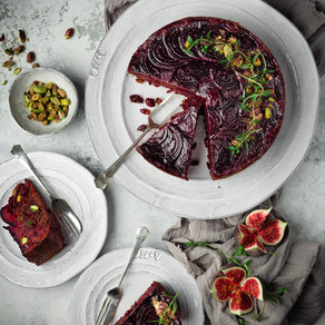 Spiced Beetroot, Pistachio & Fig Upside Down Cake