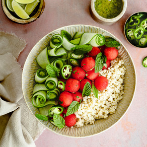 Watermelon & Israeli Cous Cous Salad with Coriander Rum Dressing