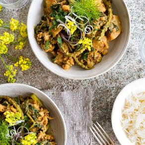 Cauliflower & Potato Peanut Curry With Mustard Flowers