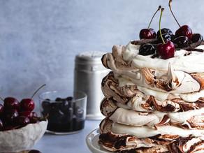 Chocolate Cardamom Brown Sugar Swirl Meringue, Yogurt & Cherries