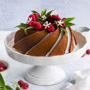Salted Vanilla & Jasmine Bundt with Raspberries & Tayberries