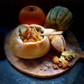 Pumpkin, Pear & Cannellini Stew with Amaretti, Pecan & Maple.
