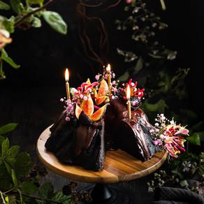 Black Cocoa Cauliflower Bundt, Chocolate Rum Glaze