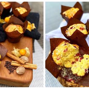 Pumpkin Spice & Rye Muffins. Berry Vanilla Muffins.