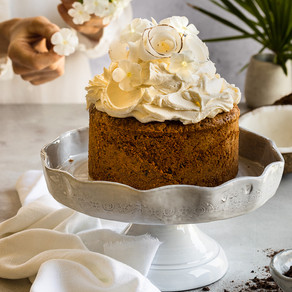 Cocoa, Coconut & Rooibos Cake with Peppered Caramel