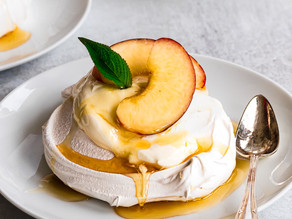 Mini Nectarine Pavlovas with Pineapple Sage Honey & Greek Yogurt