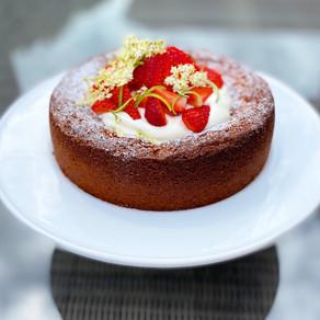 Strawberry, Elderflower & Lime Polenta Cake.