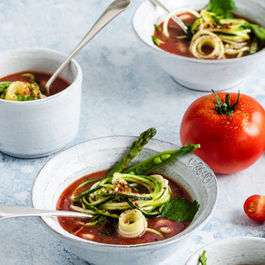 Candied Tomato & Courgette Minestrone Style Soup
