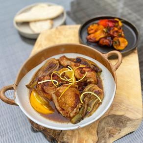 PX Chicken, Braised Fennel, Orange & Raisins