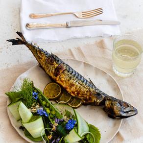 Grilled Mackerel, Apple, Shiso Salad & Kombucha Dressing