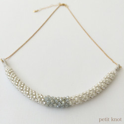 Kumihimo Chain Necklace (White/Silve)